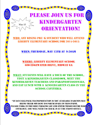 kindergarten orientation thursday 15 at 9 50 am liberty 2014 kindergarten orientation daycare flyer
