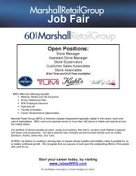 marshall retail group career opportunities arlington employment vec job fair flyer