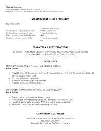 example resume for bank  seangarrette coexample resume for bank