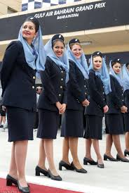 incredible photos show how air hostess uniforms have evolved over because of religious reasons air hostesses of i airline gulf air wear knee long skirts