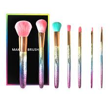 <b>7Pcs</b> Rainbow Glitter <b>Makeup</b> Brushes Set <b>Portable</b> Powder Blush ...