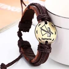 Fashion Retro Gold 12 Constellation Charms Braid Bracelet ...