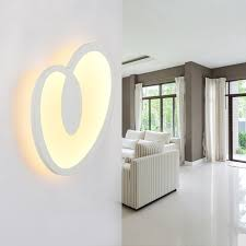 modern led wall lamp with sweet heart lampshade for bedroom wall sconce white indoor lighting lamp cheap wall lighting