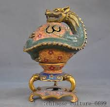 <b>christmas</b> Marked <b>old Chinese bronze</b> Cloisonne Gilt Dragon beast ...