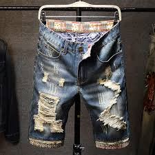 2019 New <b>Summer Men's</b> Denim Shorts Hole Paint <b>Personality</b> ...
