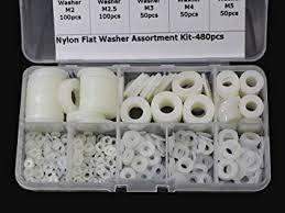 480 Pcs <b>White Nylon</b> Flat <b>Washer</b> Assortment Kit for <b>M2 M2.5</b> M3 M4 ...