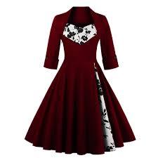 US Shipping <b>Women Plus Size Autumn Dress</b> Long Sleeves Vintage ...