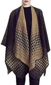 QZUnique Women's Blanket Wrap <b>Houndstooth</b> Knitted Cardigans ...