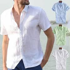 <b>Mens</b> Summer Cotton Breathable Solid Color Buttons T-Shirts ...