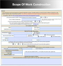 scope of work templates word pdf document scope of work construction
