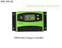 MSL <b>SOLAR</b> 20A 60A DC <b>12V</b>/<b>24V Auto Solar</b> Charger controller ...
