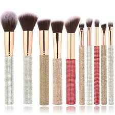 <b>10 Piece</b> Fashion Crystal <b>Glitter</b> Rhinestone <b>Makeup</b> Brush Set | eBay