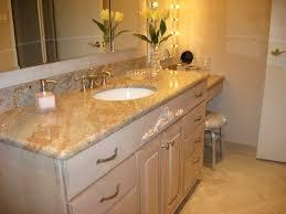 minimalist designed bathroom vanity decorated with chic lowes granite countertops and glass vase bathroom pendant lighting ideas beige granite