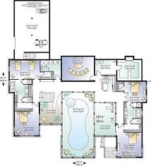 House plan W detail from DrummondHousePlans com    Basement Luxurious Traditional Chalet   indoor pool  amp  spa  master suites
