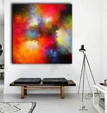 Red and <b>white abstract</b> painting, <b>large</b> wall art, <b>abstract</b> art, <b>acrylic</b> ...