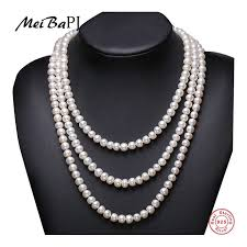 [MeiBaPJ] 7 8mm Size Nice Charm <b>Real Freshwater Pearl Necklace</b> ...