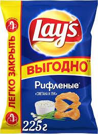 """<b>Чипсы</b> Lay's """"<b>Сметана и</b> лук"""" <b>картофельные</b>, 225 г"""