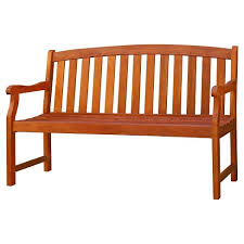 Vifah Outdoor <b>2-Seater</b> Wood <b>Bench</b> - Brown : Target