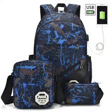 Boys New <b>3Pcs</b>/<b>Set USB</b> Charging Fashion Teenage School ...