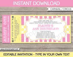 carnival birthday ticket invitation template carnival circus carnival birthday ticket invitation template carnival party circus party pink yellow