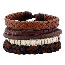 5pcs Retro Weave Bracelet Ethnic <b>Leather</b> Beads Charm Bangles ...