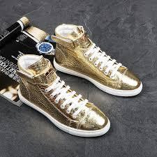 <b>Kaeve</b> Italian Punk Style Fashion Men Gold High Top Shoes ...