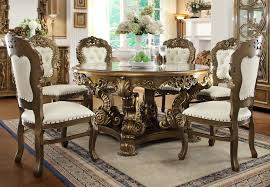 Formal Round Dining Room Sets Homey Design Hd 8008 7 Pieces Renaissance Style Dining Table Set