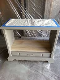 repurposed t v stand pet bed with wooden chevron patterned top painted furniture repurposing upcycling chevron painted furniture