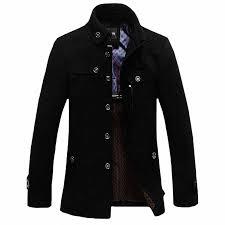 <b>Winter</b> Trench <b>Coat</b> Men Casual <b>Thick Wool Overcoat</b> Men's Stand ...