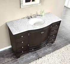 55 inch double sink bathroom vanity: silkroad exclusive  inch carrara white marble stone top bathroom single sink cabinet vanity