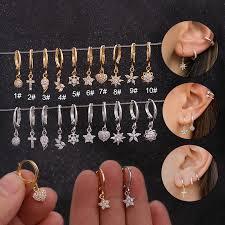 <b>Fashion 1 Pc</b> Cz Small Hoop Flower Stud Earrings for Women ...