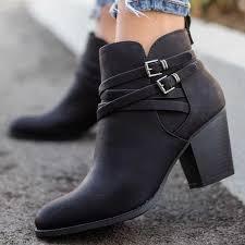 <b>Adisputent Women</b> Shoes Ankle Pumps Flock Toe Boots <b>Solid</b> ...
