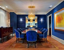 blue office walls dining room eclectic with wood molding upholstered dining chairs blue office walls