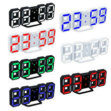 <b>3D LED</b> Modern <b>Digital Wall Clocks</b> 24 12 Hours Display 3 ...