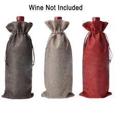 2019 <b>15*35cm Rustic</b> Natural <b>Jute Burlap</b> Wine Bags Drawstring ...