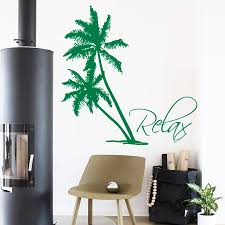 palm tree wall stickers: palms wall decals beach palm tree relax home interior design bathroom art mural vinyl decal sticker