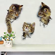 Sticker Cat Wall Bathroom <b>3D</b> Decor Room PVC Cute Toilet Living ...