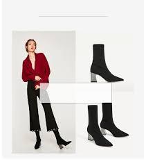 Fashion Women Boots High Heels Black Snow Boots Square Heels ...