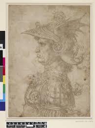 Leonardo da Vinci, Bust of a <b>warrior</b> in profile, a silverpoint drawing ...