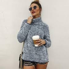 <b>Autumn Winter Long Sleeve</b> Casual Pullover Solid Turtleneck