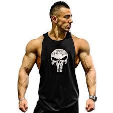 GZXISI Mens <b>Skull</b> Print <b>Stringer Bodybuilding Gym</b> Tank Tops ...