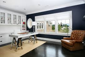 kitchen cabinets home office transitional: navy kitchen cabinets home office contemporary with black stained wood floor