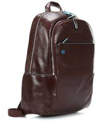 <b>Piquadro Blue Square</b> Laptop backpack 13″ leather brown ...