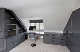 grey high gloss fitted home office bespoke home office