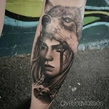 <b>Girl with wolf headdress</b> tattoo   Headdress tattoo, Girls with sleeve ...