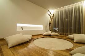 simple decoration and furniture modern meditation room design with hardwood floor tiles and white fabric cushions plus wall lighting built in and brown brown fabric lighting