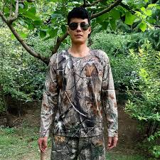 Bionic Camouflage Hunting Clothes Mens T shirts Breathable Mesh ...