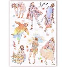 Nailyo [Rainbow Girl] Washi <b>Stickers</b> Journal <b>Sticker</b> Deco 钉子悠 ...