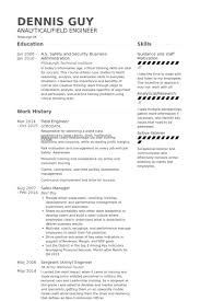 Field Engineer Resume Samples   VisualCV Resume Samples Database VisualCV
