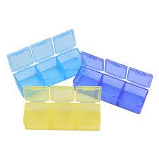 <b>Pill Box 7</b> Days Tablet Mini <b>Portable</b> 3 Row 21 Squares Weekly ...